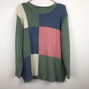 Vintage Velvet Color Block Pullover Sweater Small